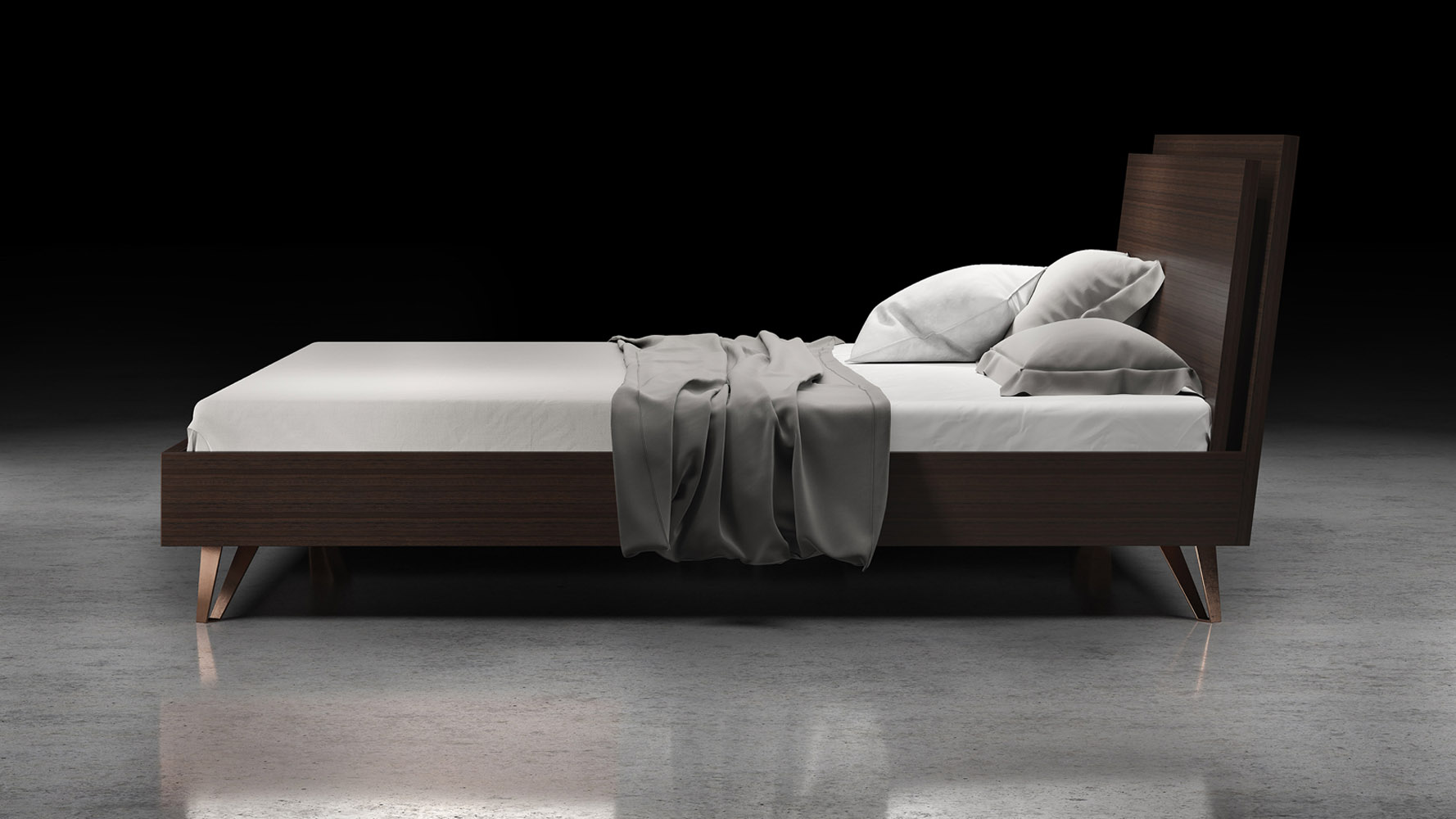 Grian wood and anodized steel bed espresso zuri furniture for Beds 185cm long