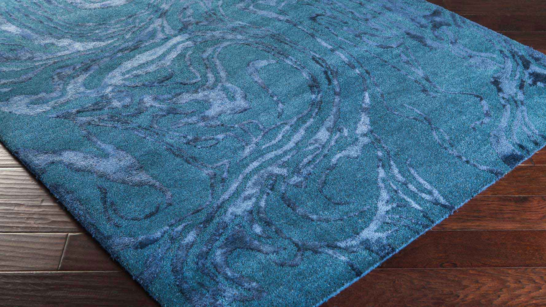 Hand Tufted Banshee Area Rug Teal Swirl Zuri Furniture