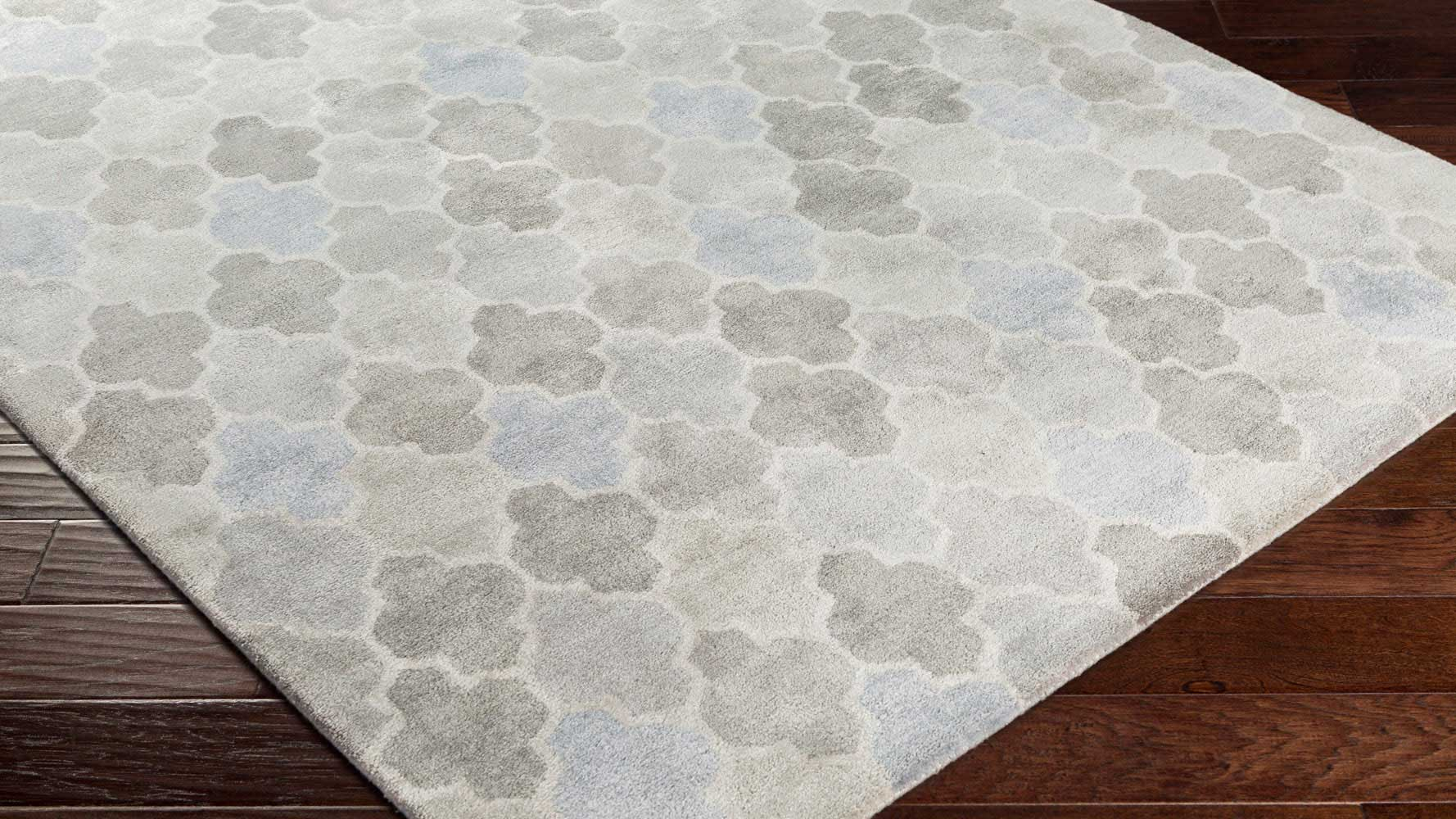 Hand Tufted Brilliance Area Rug Light Gray Slate Pattern