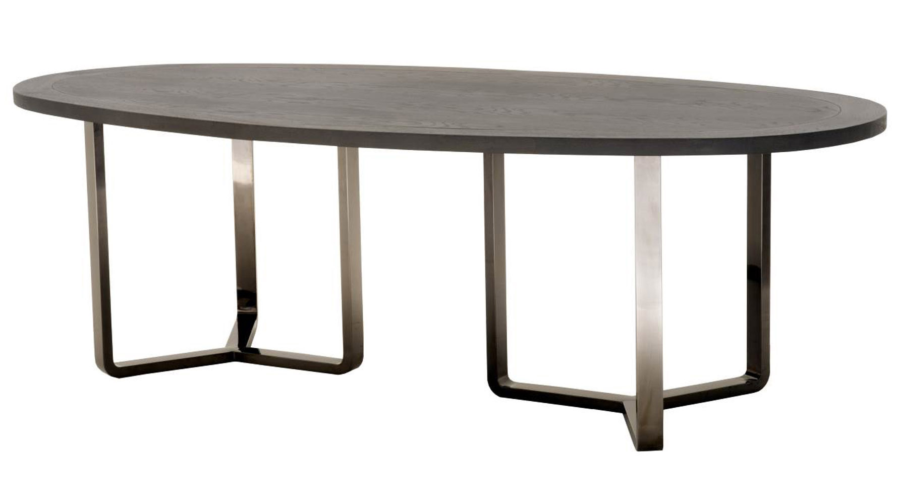 Jaffa Oval Oak Dining Table With Stainless Steel Base, Black | Zuri  Furniture
