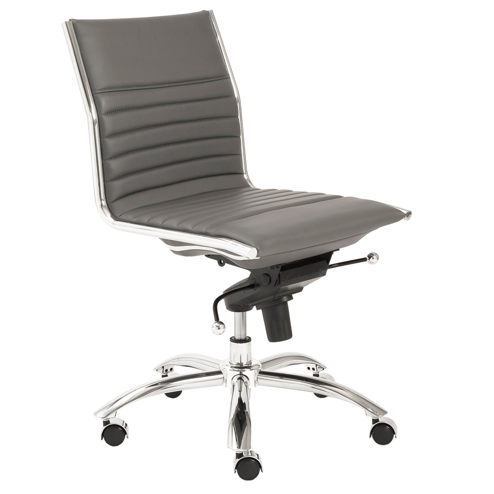 Kinsey low back armless leatherette adjustable height office chair zuri furniture - Armless office chairs uk ...