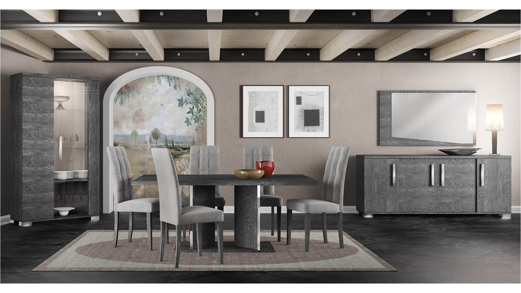 Modern Marquis Extension Dining Table Grey Birch High Gloss ...