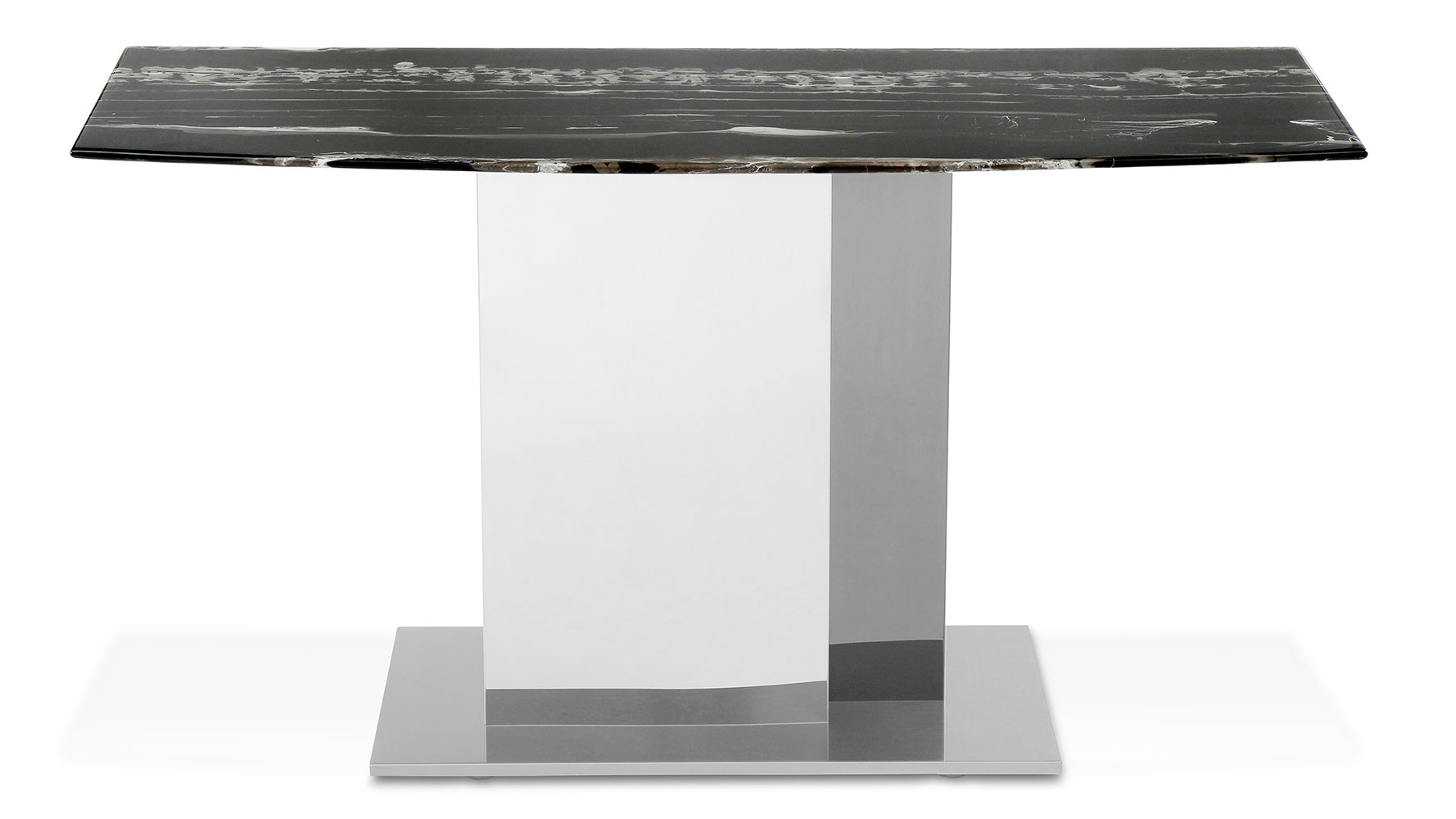 Modern Nero Console Table With Marble Top And Polished Stainless