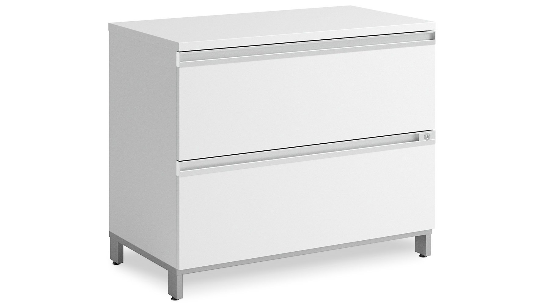 Modern Office Bbf Momentum 2 Drawer Lateral File Cabinet In White Zuri Furniture