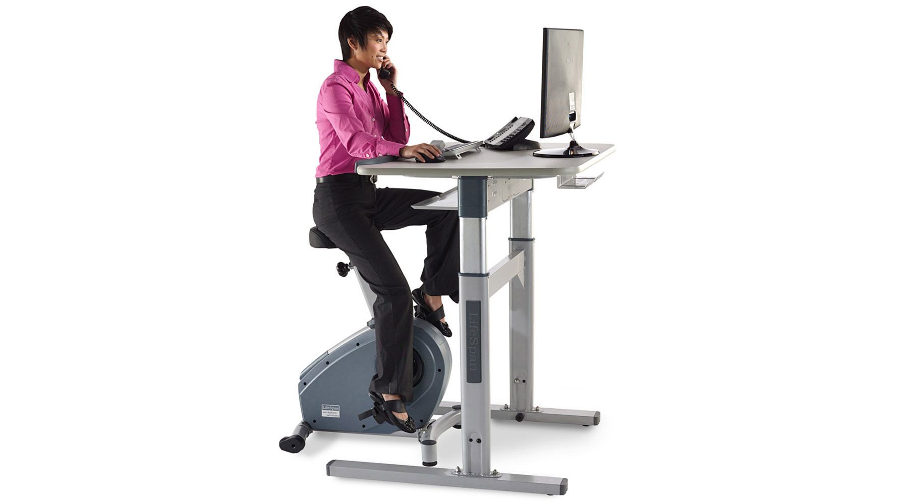 Modern Office Lifespan Upright Bike With Electronic Desk