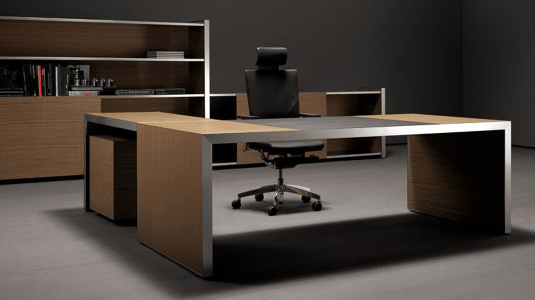 Modern Oikos/AT Two L-Shaped Desk with Panel Leg + Mobile ...