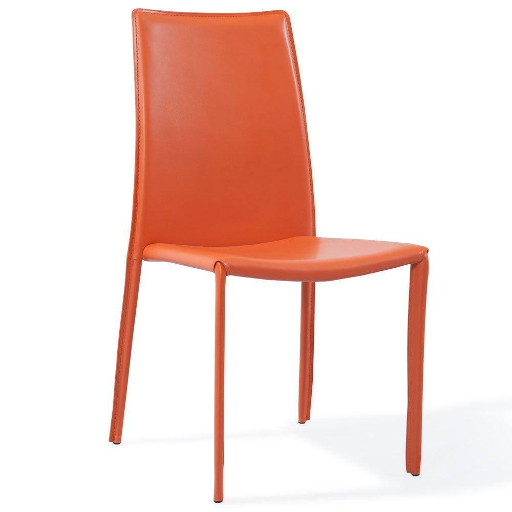 Modern orange upholstered noah dining chair zuri furniture for Upholstered dining chairs