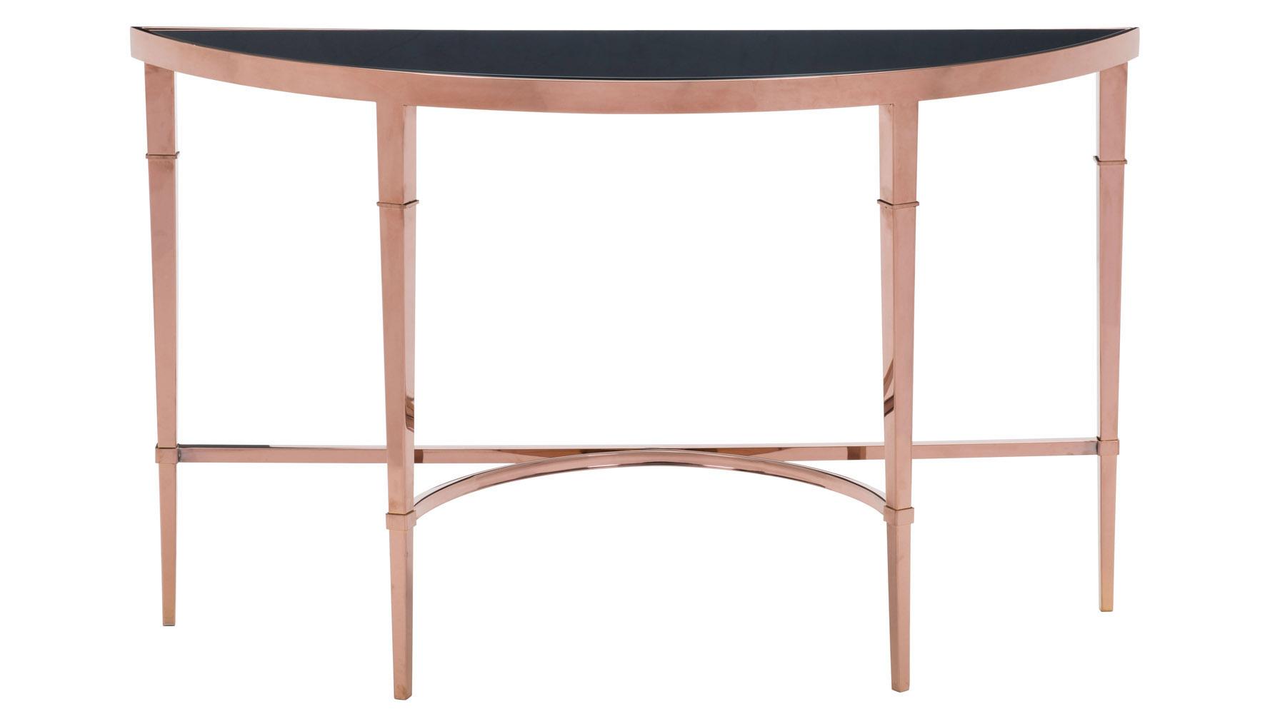 Modern Pascale Glass Console Table Rose Gold Black Zuri Furniture