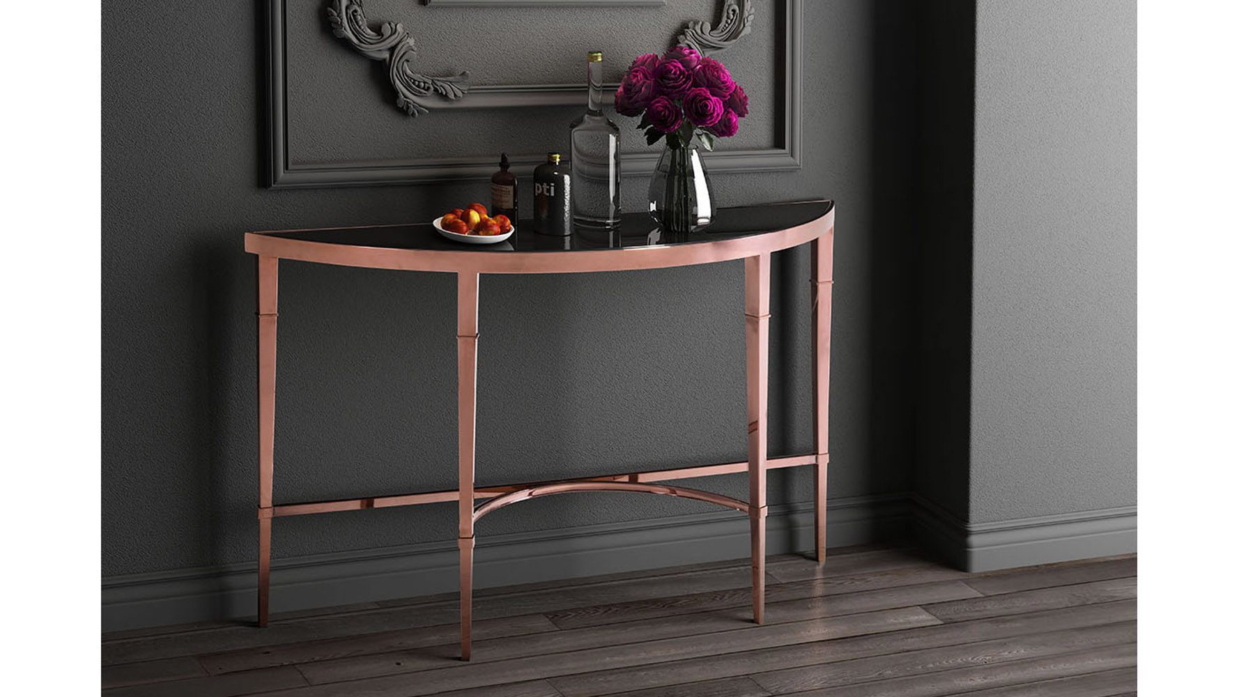 Modern Pascale Glass Console Table Rose Gold Amp Black