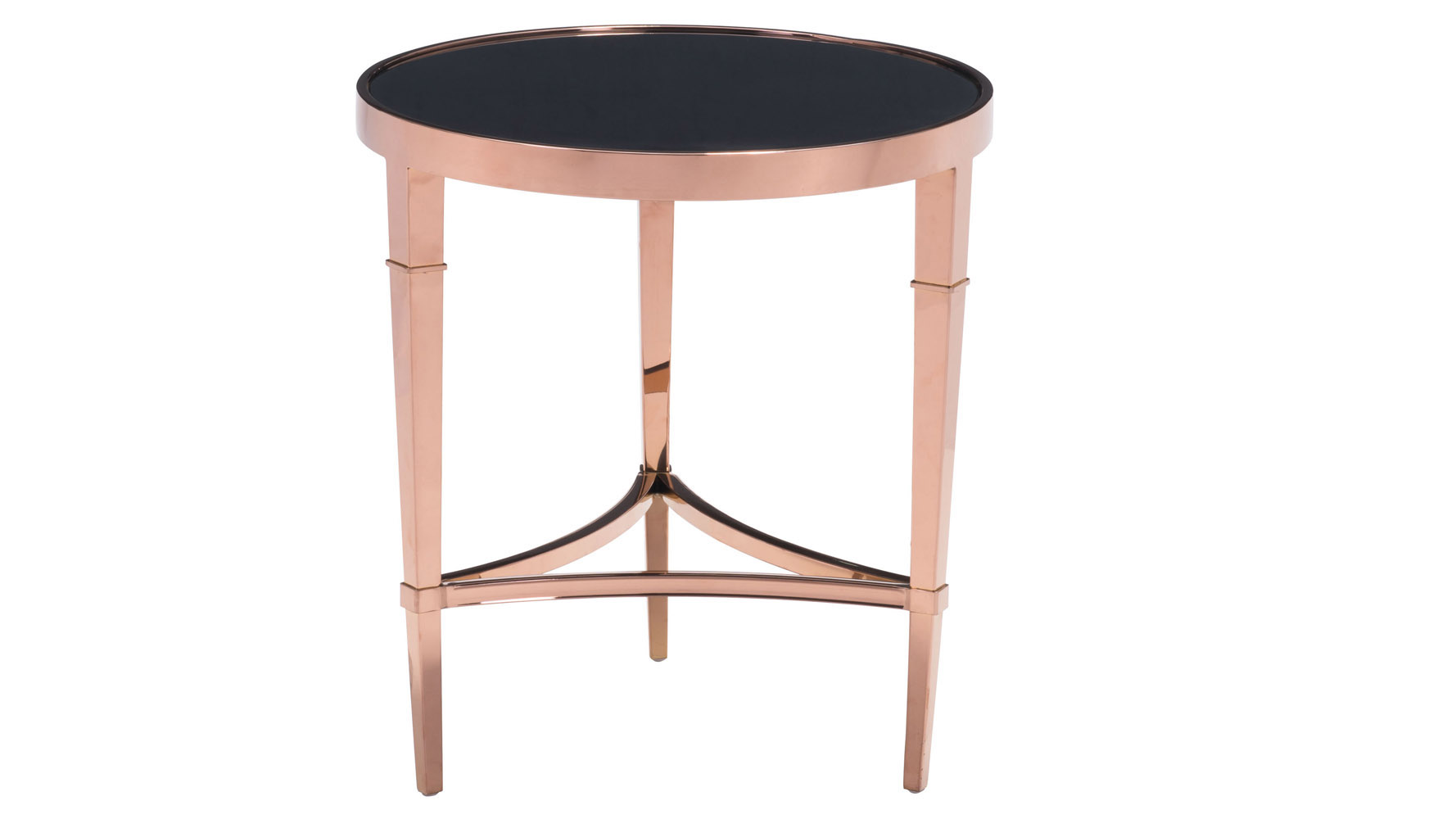 Modern Pascale Glass Side Table Rose Gold & Black
