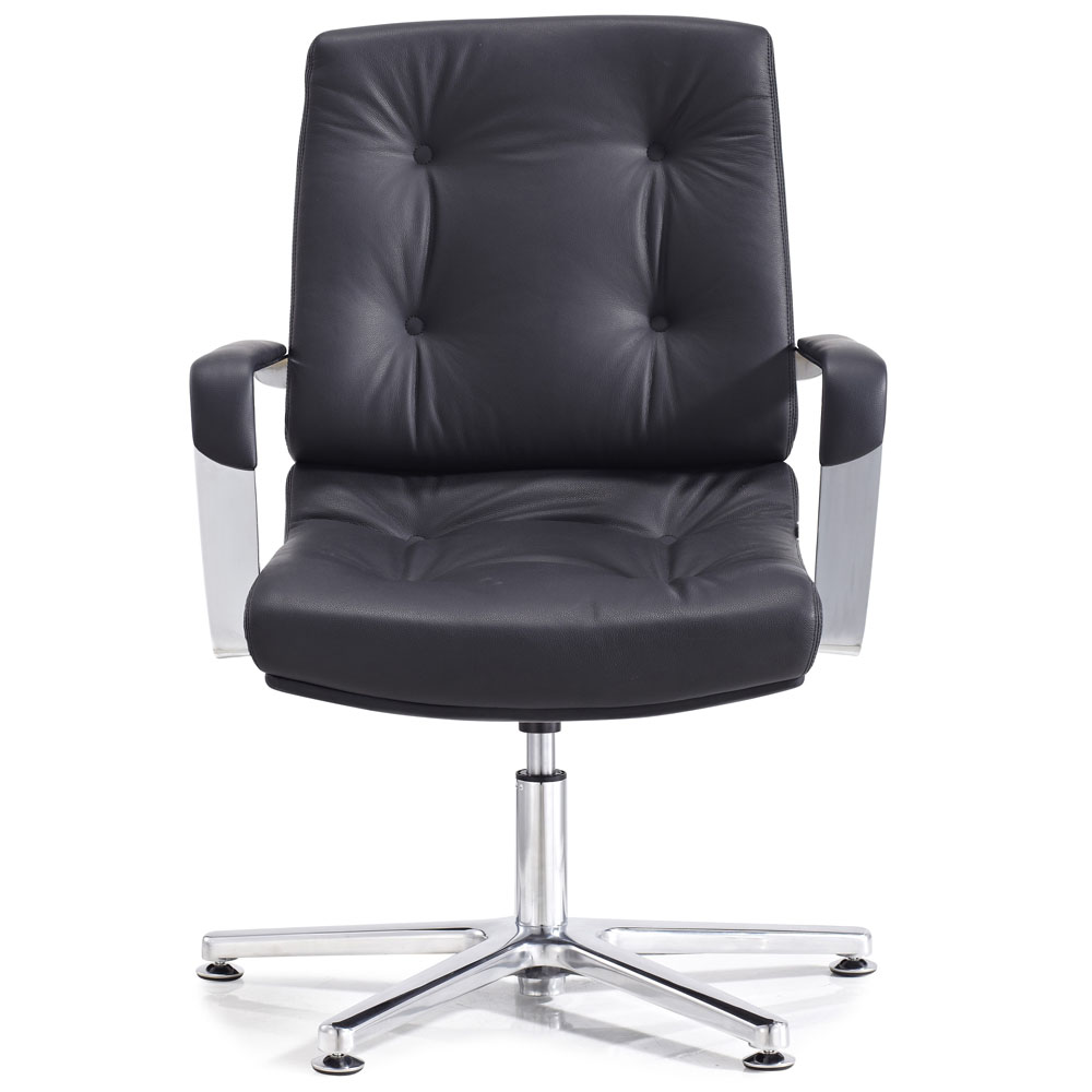 Perot leather and chrome adjustable office chair with for Home office chairs leather