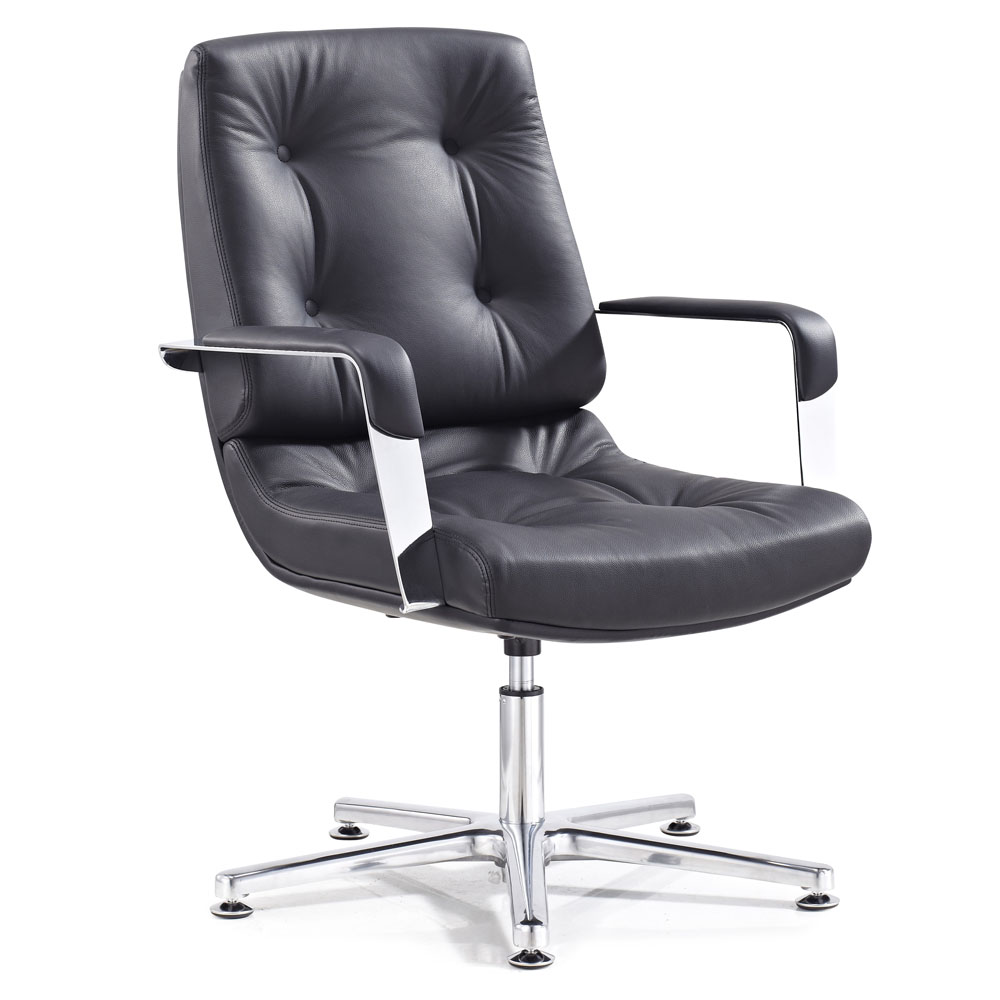 Perot leather and chrome adjustable office chair with for Modern leather office chairs