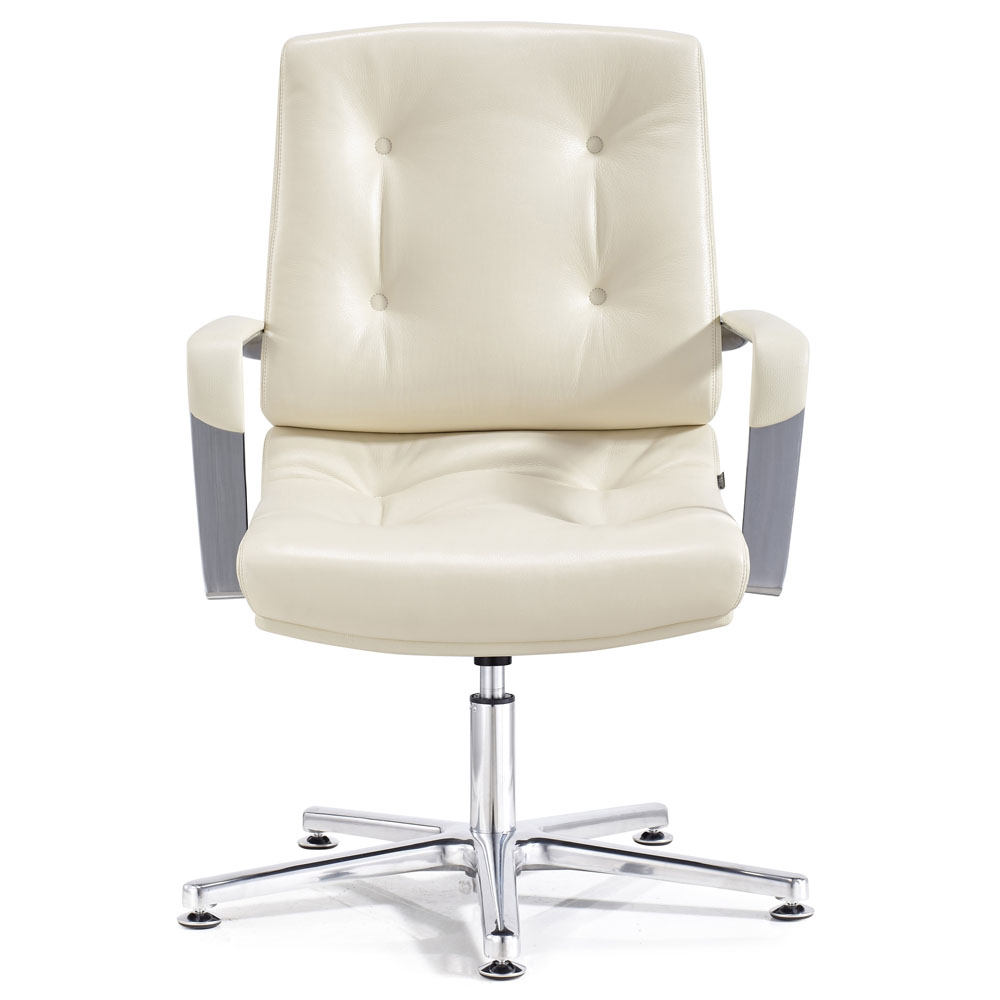Perot Leather and Chrome Adjustable Office Chair with Aluminum ...