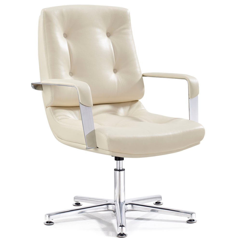 Perot leather and chrome adjustable office chair with for Cream office chair