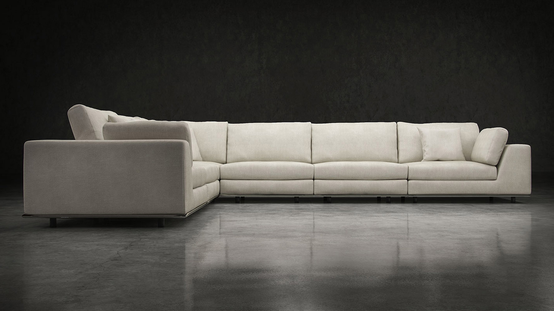 Modern Persis Extra Seating L Sectional Sofa - Moonbeam ...