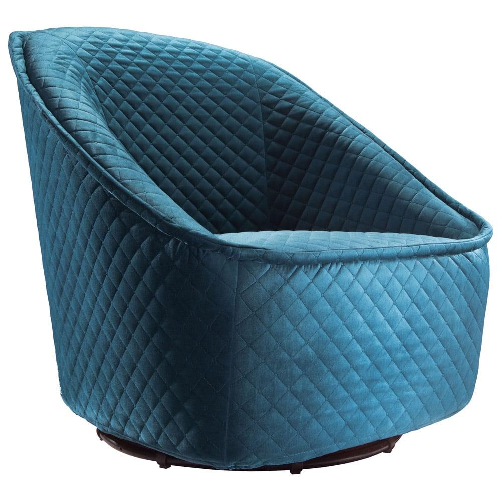 Modern Philip Swivel Chair Quilted Aquamarine Velvet