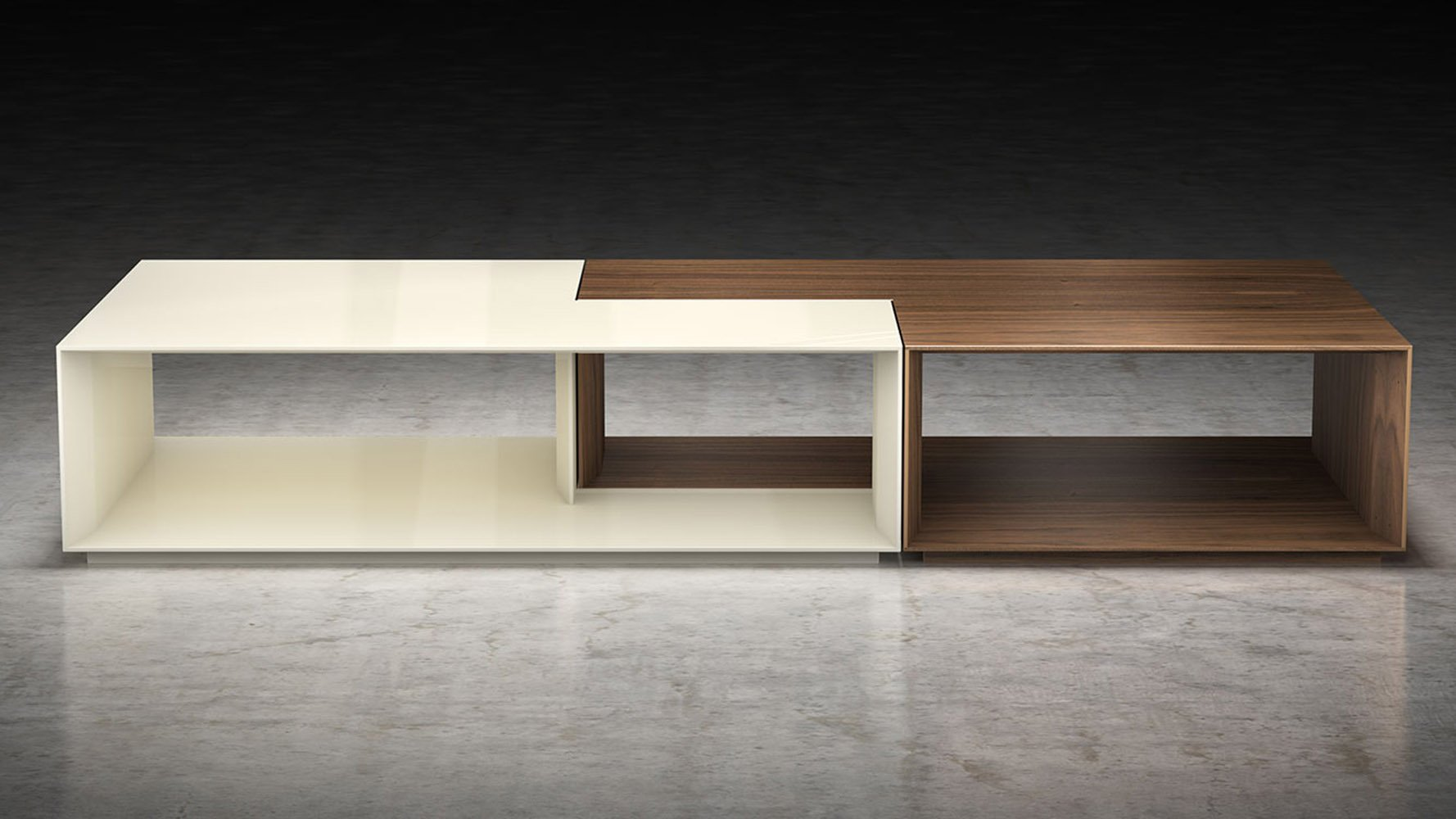 Modern Priam Coffee Table Walnut And Beige Lacquer