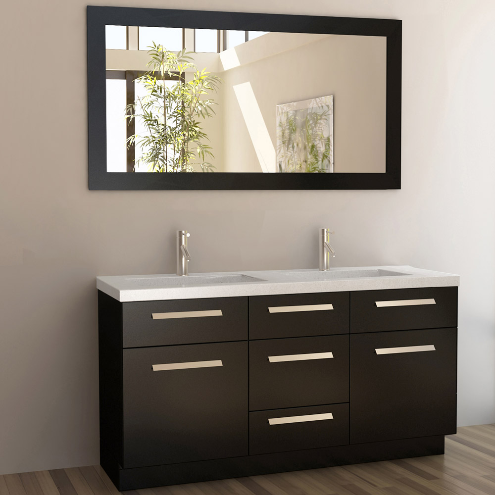 Rissa 60 double sink vanity set zuri furniture for Modern bathroom sink and vanity