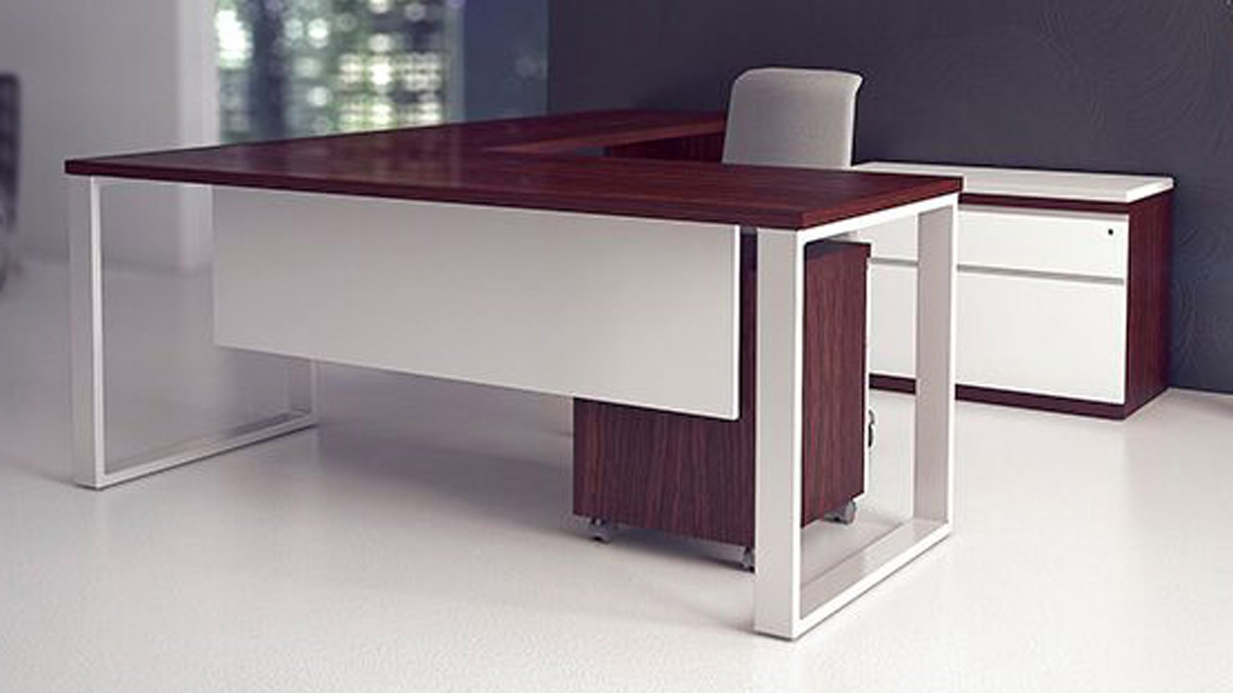 Modern Office Desk: Modern AT Two L-Shaped Desk - Biedermeier Cherry