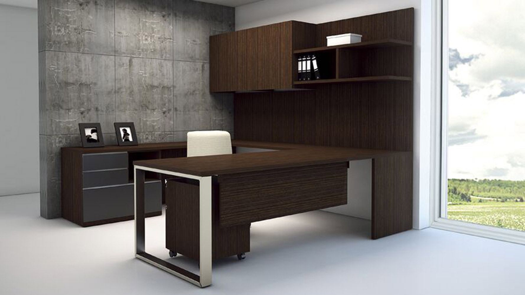 modern at two ushaped desk with multifile wengue congo