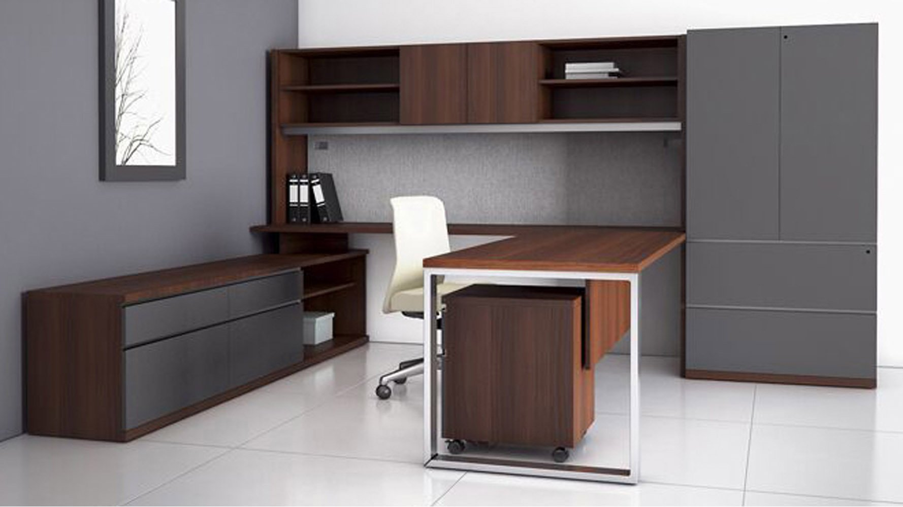 modern at two ushaped desk with overhead storage credenza natural walnut zuri furniture
