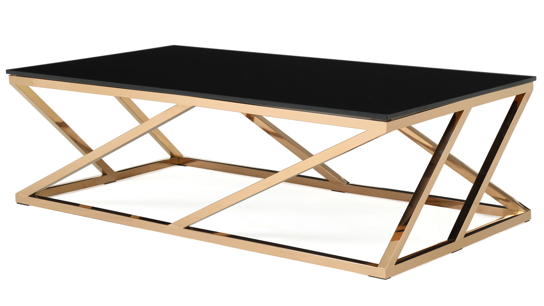 Modern rose gold and black glass geo coffee table zuri furniture Geo glass coffee table