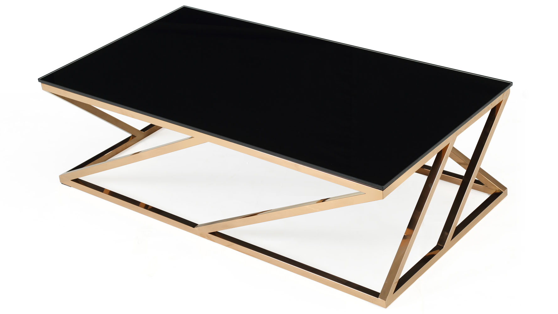 modern rose gold and black glass geo coffee table 2
