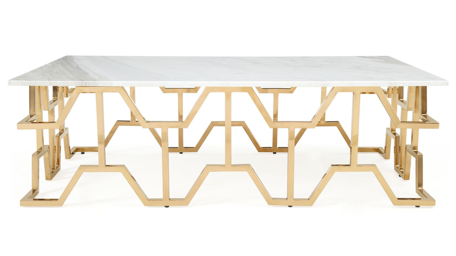 modern rose gold and marble jewel coffee table 2