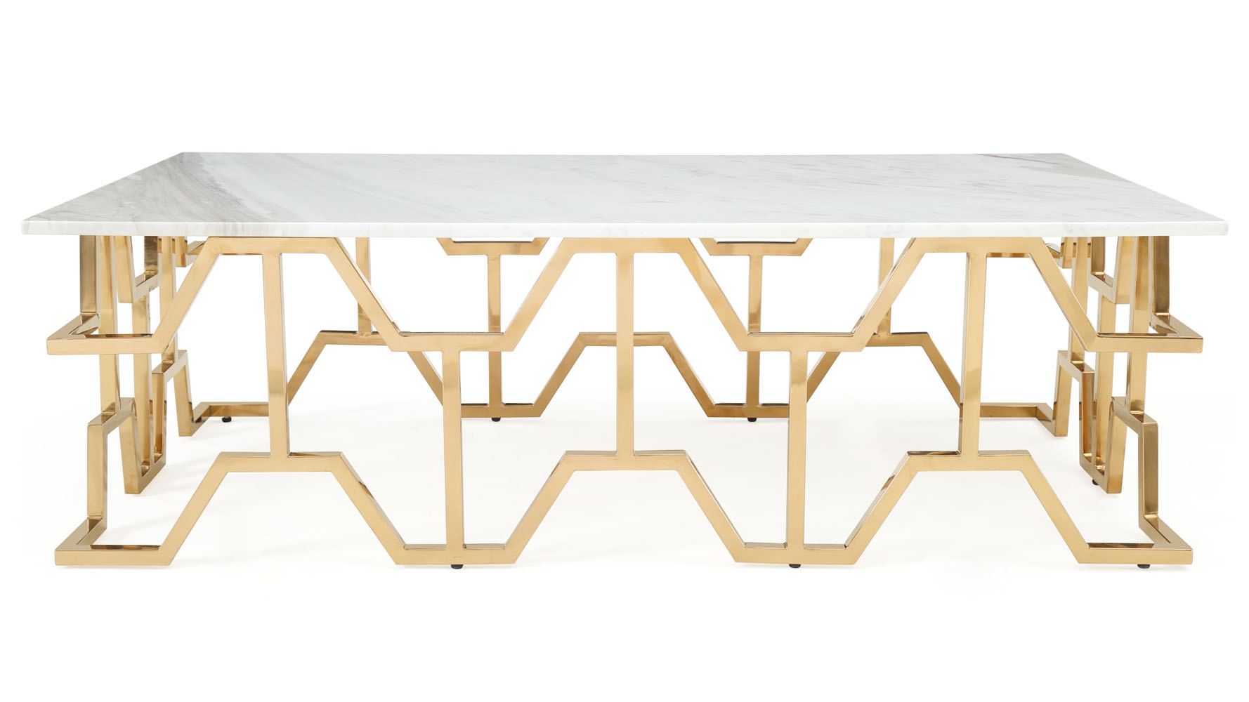 Modern Rose Gold and Marble Jewel Coffee Table Zuri Furniture