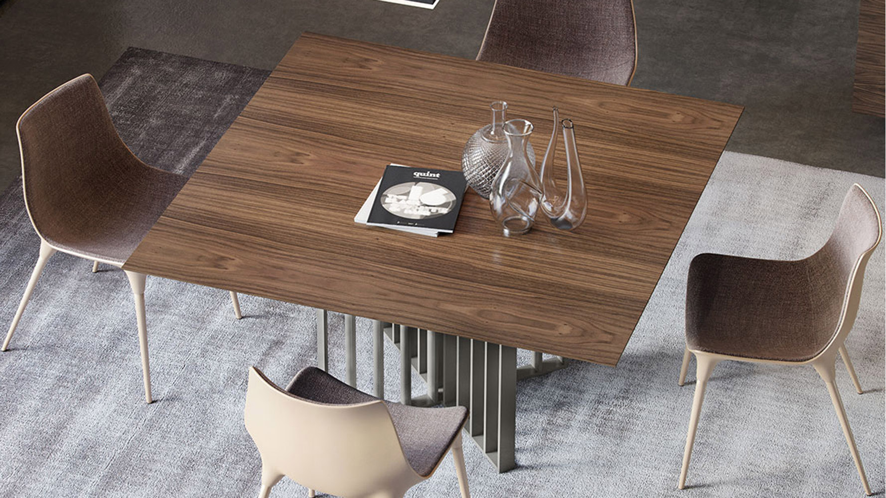 Dark Wood Finish Modern Dining Room W Optional Items: Modern Saida Square Dining Table