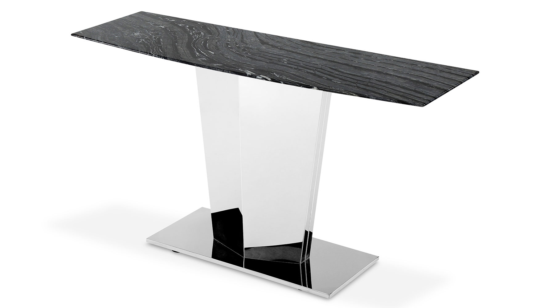 Modern sirah console table with marble top and polished stainless modern sirah console table with marble top and polished stainless steel base zuri furniture geotapseo Choice Image