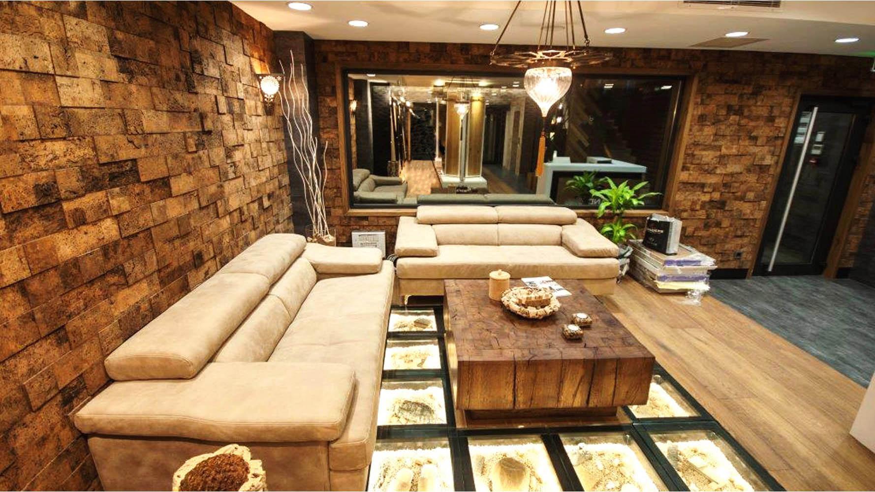 Modern sustainable cork bricks wall design 90 pc zuri furniture for Sustainable interior materials
