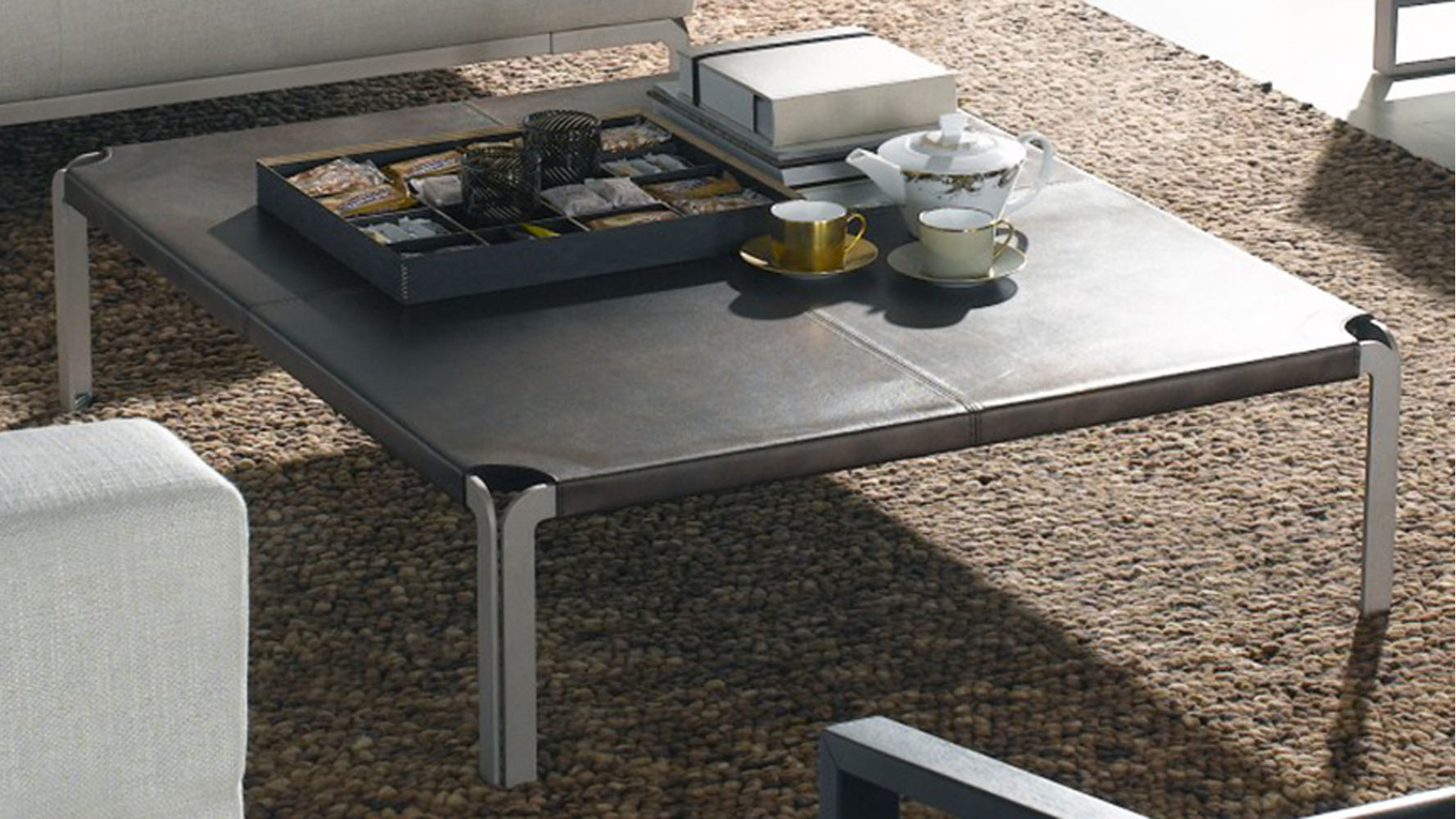 Modern Tallen Leather Coffee Table Bronze