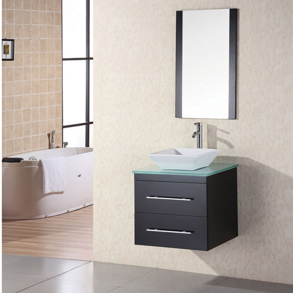 Taylor 24 single sink glass vanity set zuri furniture for Modern glass bathroom