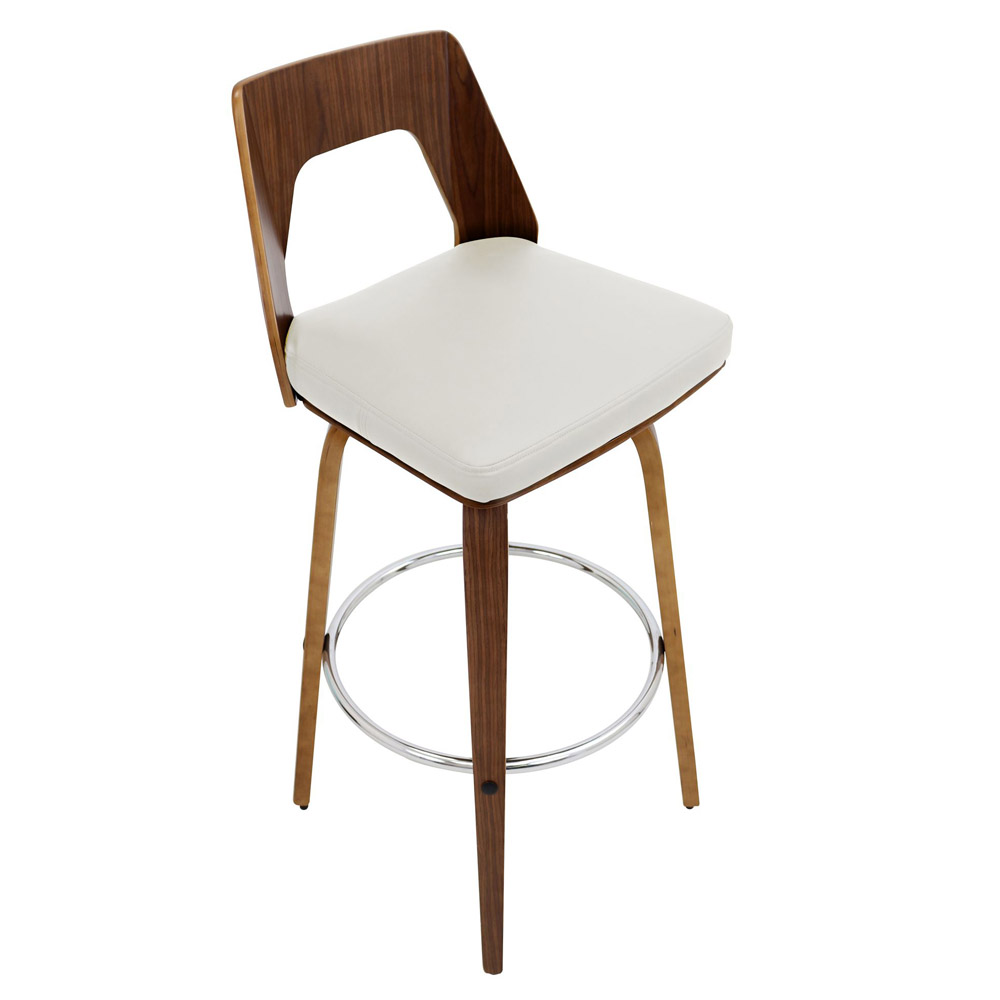 Modern Terrah Bar Stool Walnut Cream Zuri Furniture