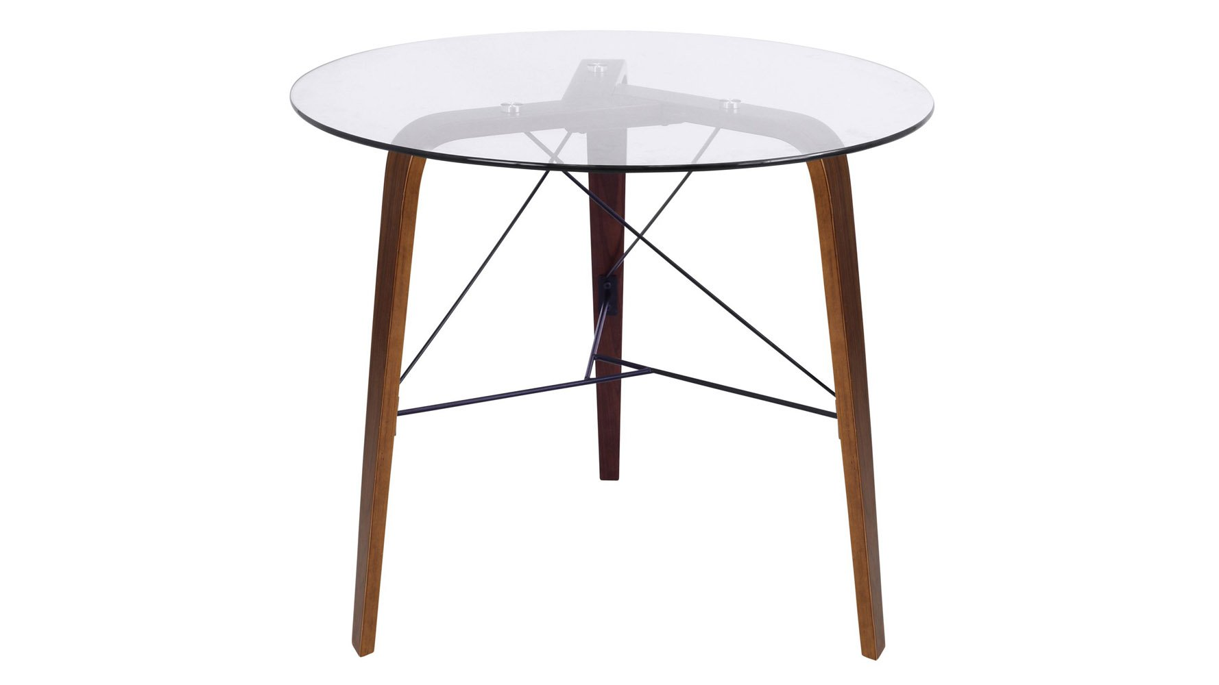 Modern Terrah Bistro Table Walnut Frame Clear Glass