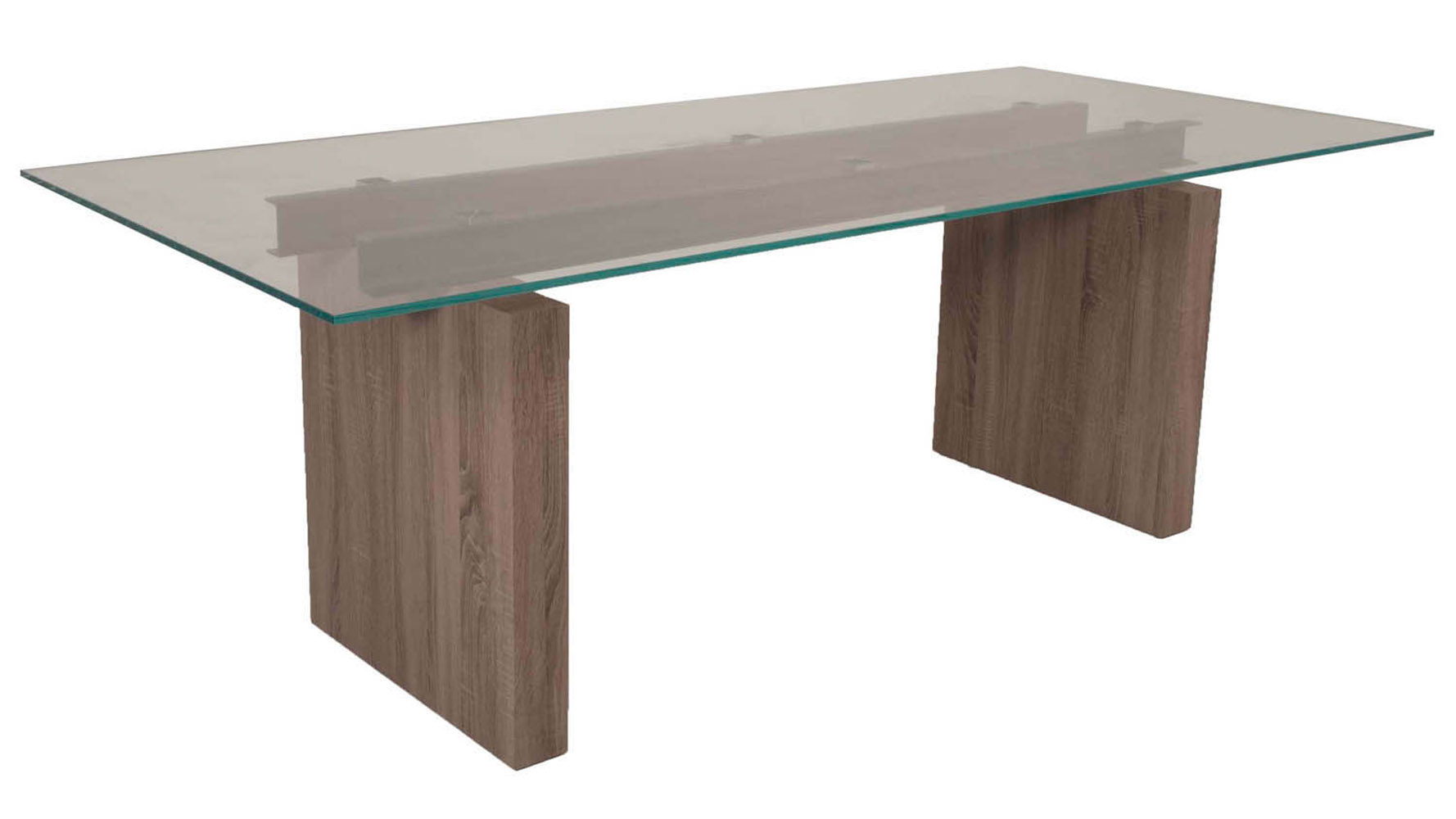 Modern trestle dining table driftwood base 12mm tempered for Trestle dining table