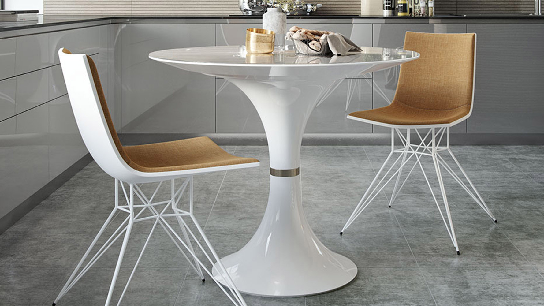 Modern wagner 36 round dining table zuri furniture for Modern large round dining table