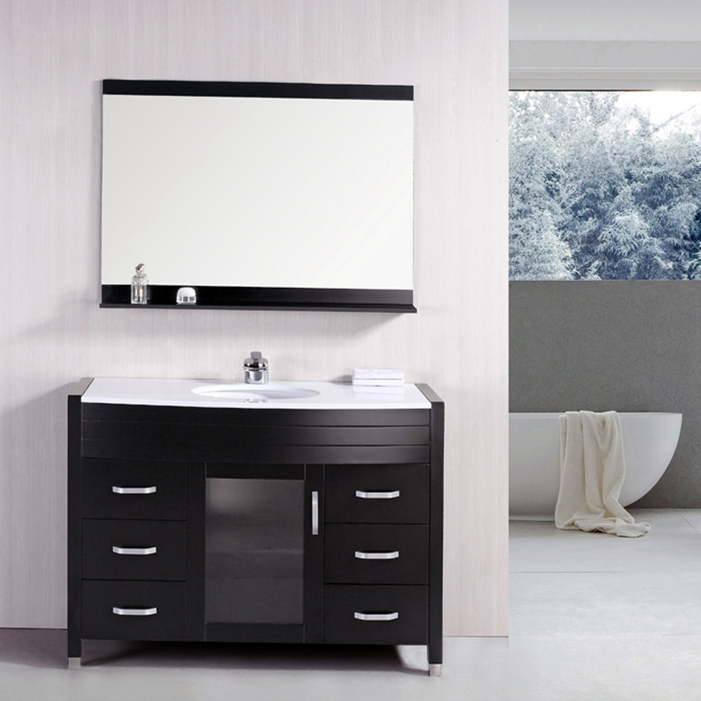 Walton 48 Single Sink White Stone Vanity Set Zuri Furniture
