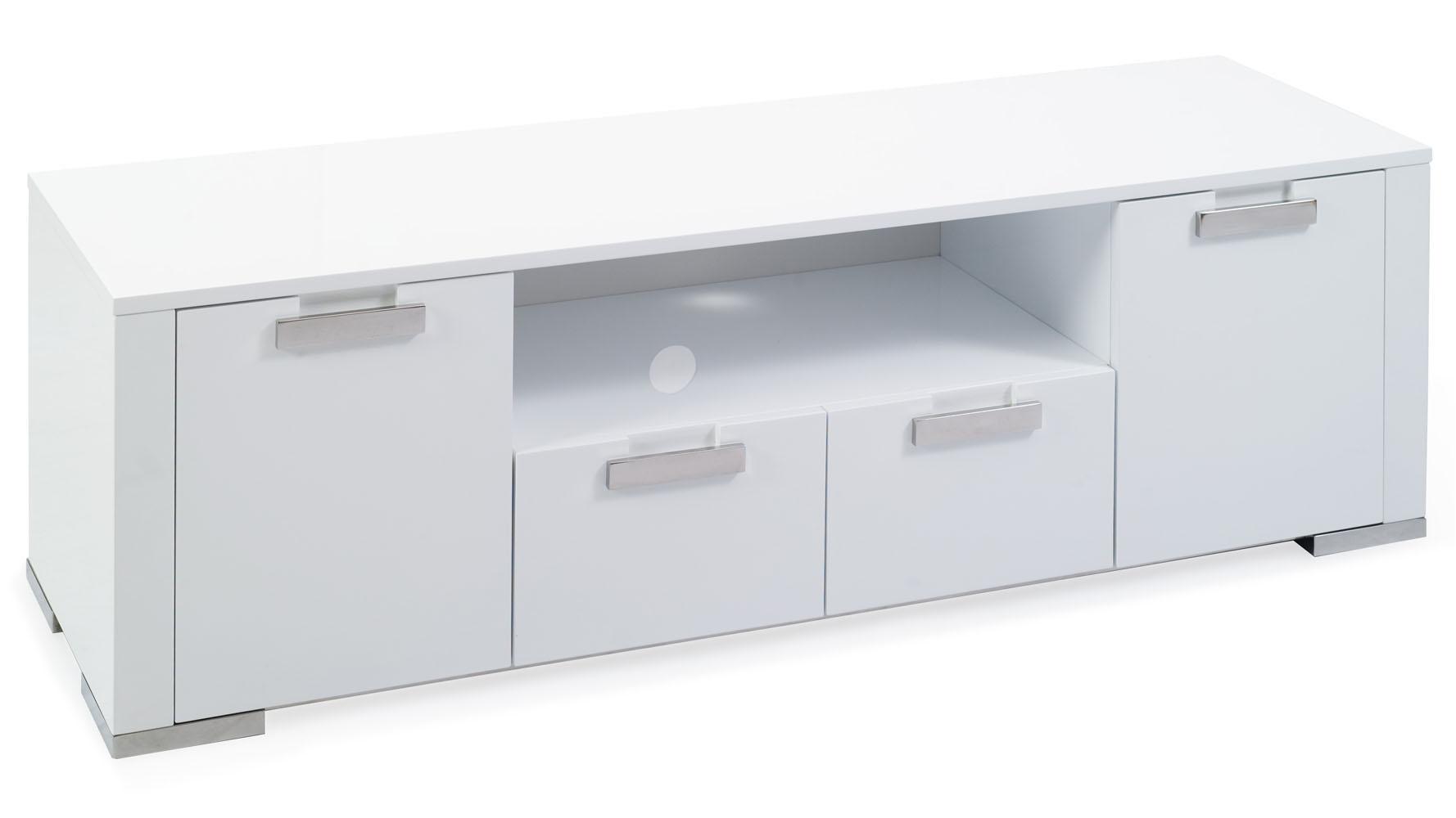 Modern White High Gloss Lacquer Torres Media Storage Cabinet Zuri Furniture