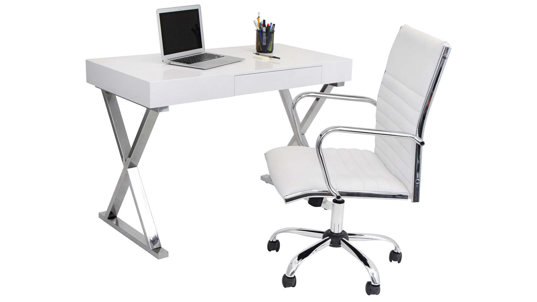 Modern White Lacquer and Chrome Equis Desk | Zuri Furniture