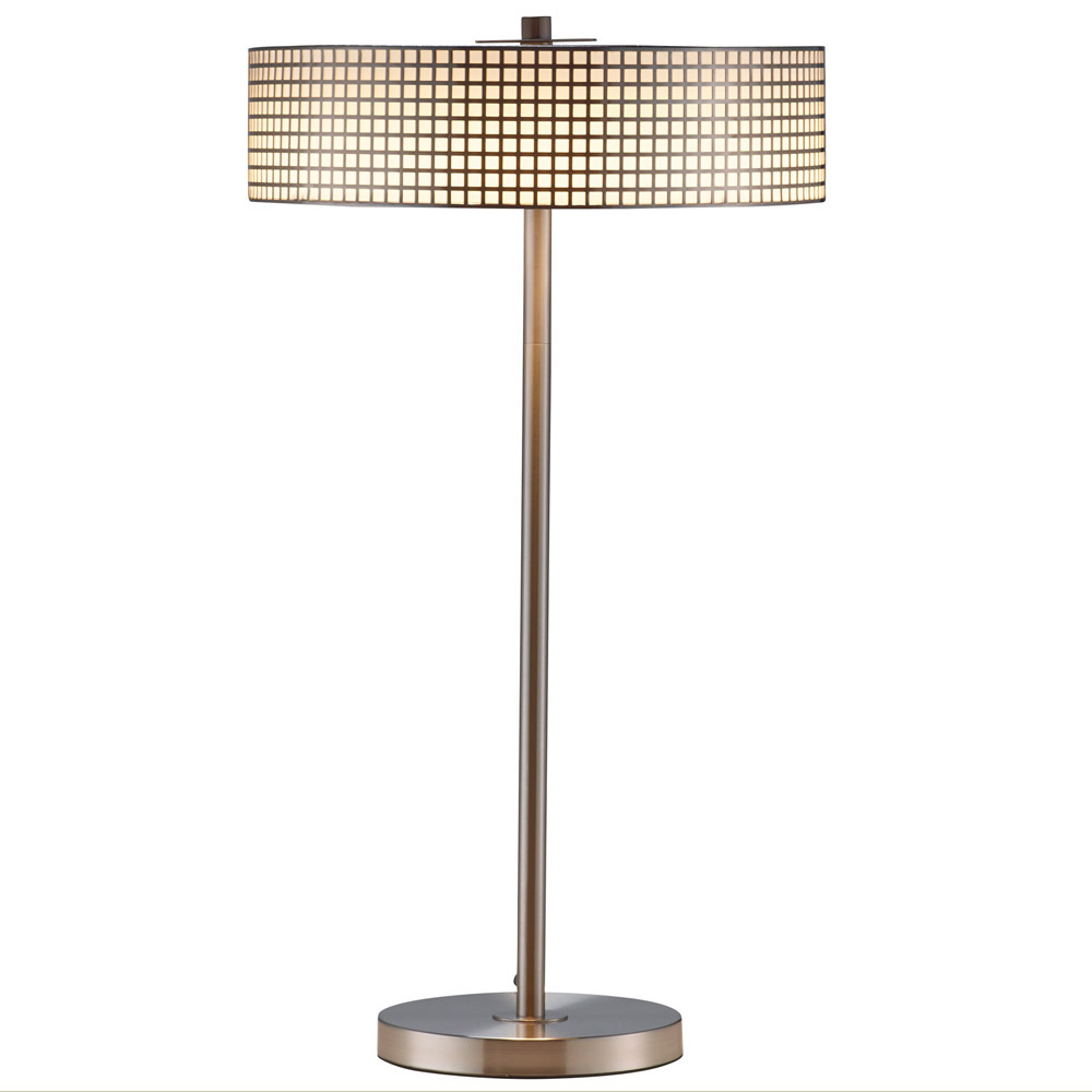 Modern wilshire led table lamp brushed steel zuri for Modern led table lamps