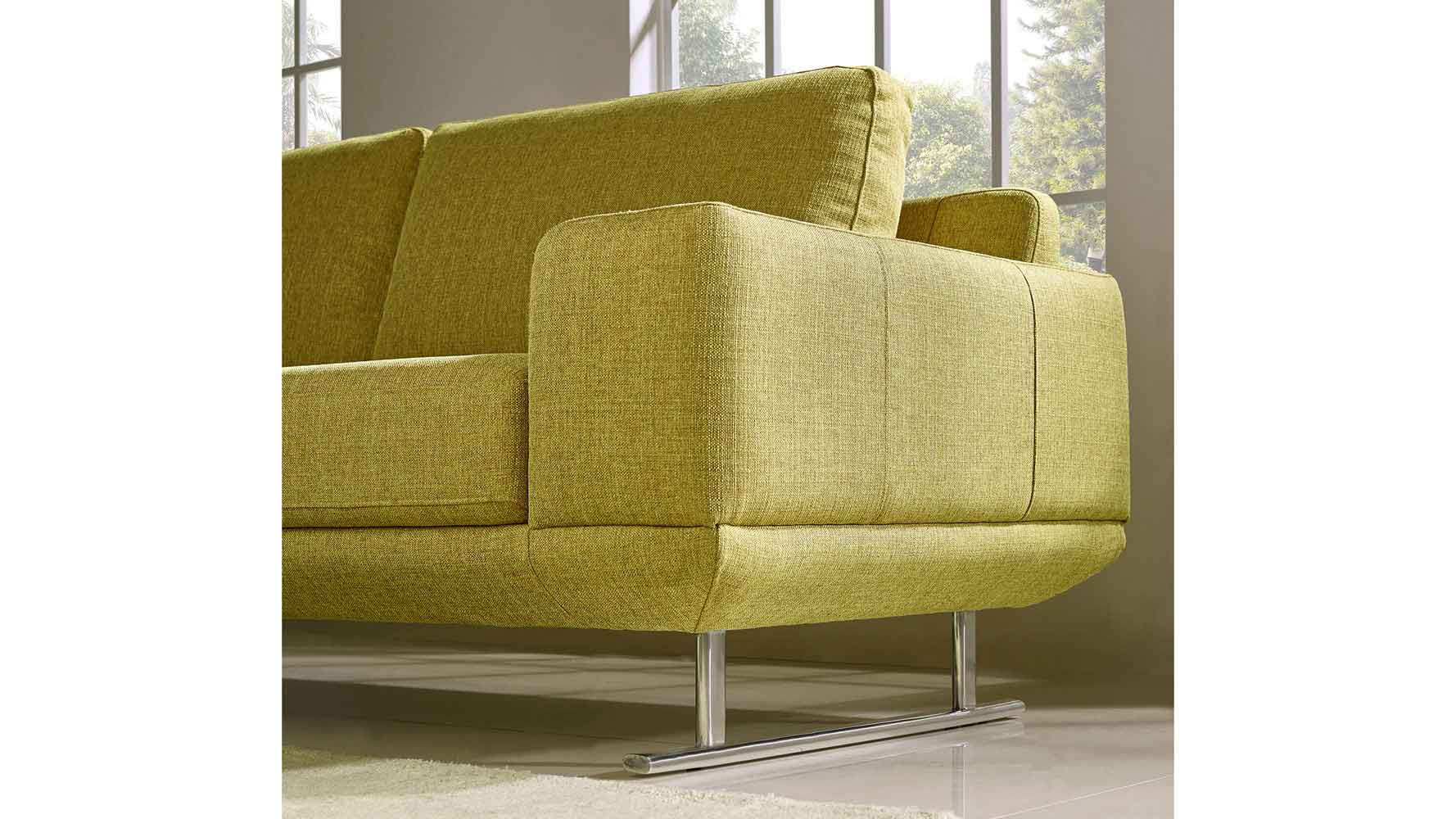 Modern Chartreuse Fabric Della Sofa And Loveseat Set