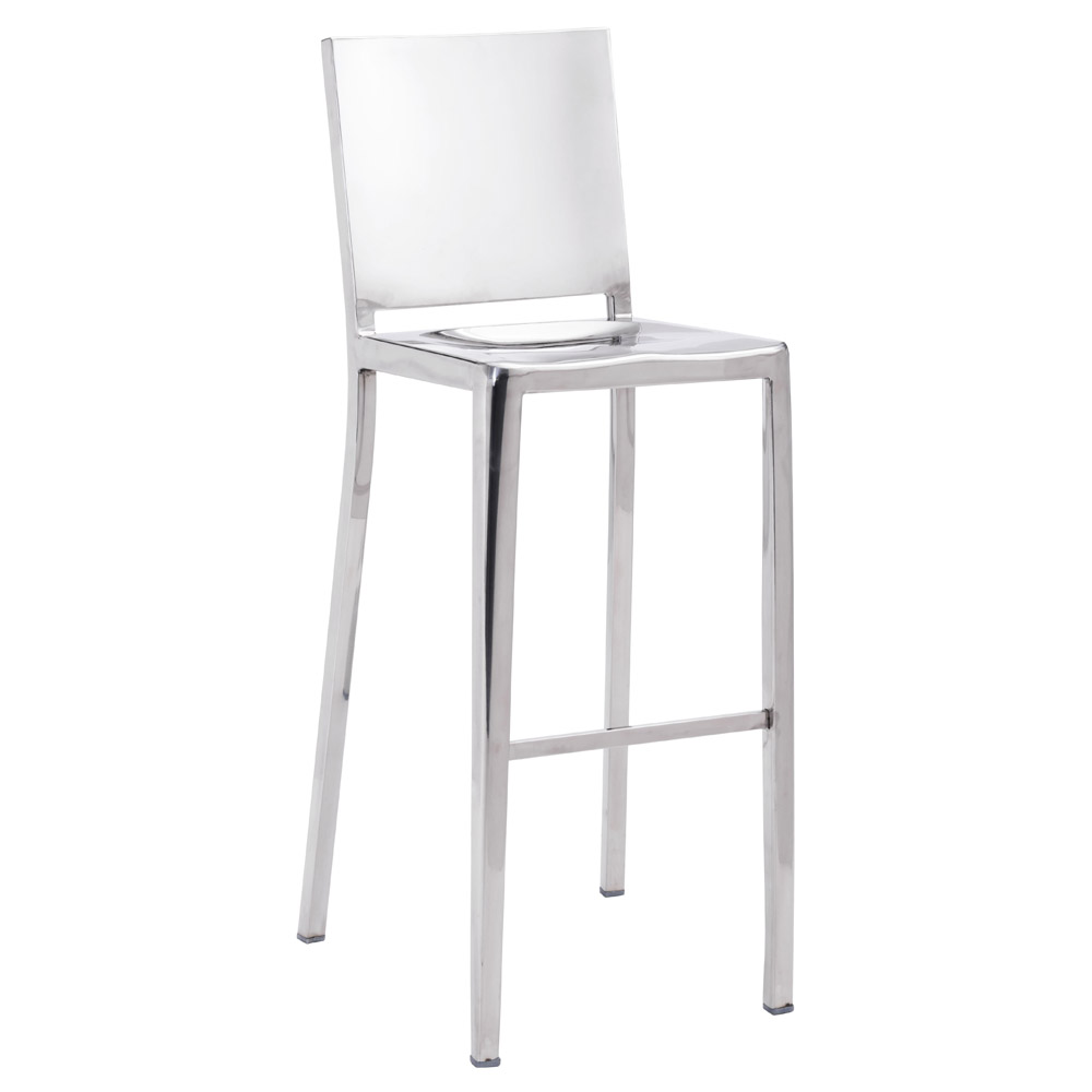 Modern Zaina Bar Stool Polished Stainless Steel Zuri