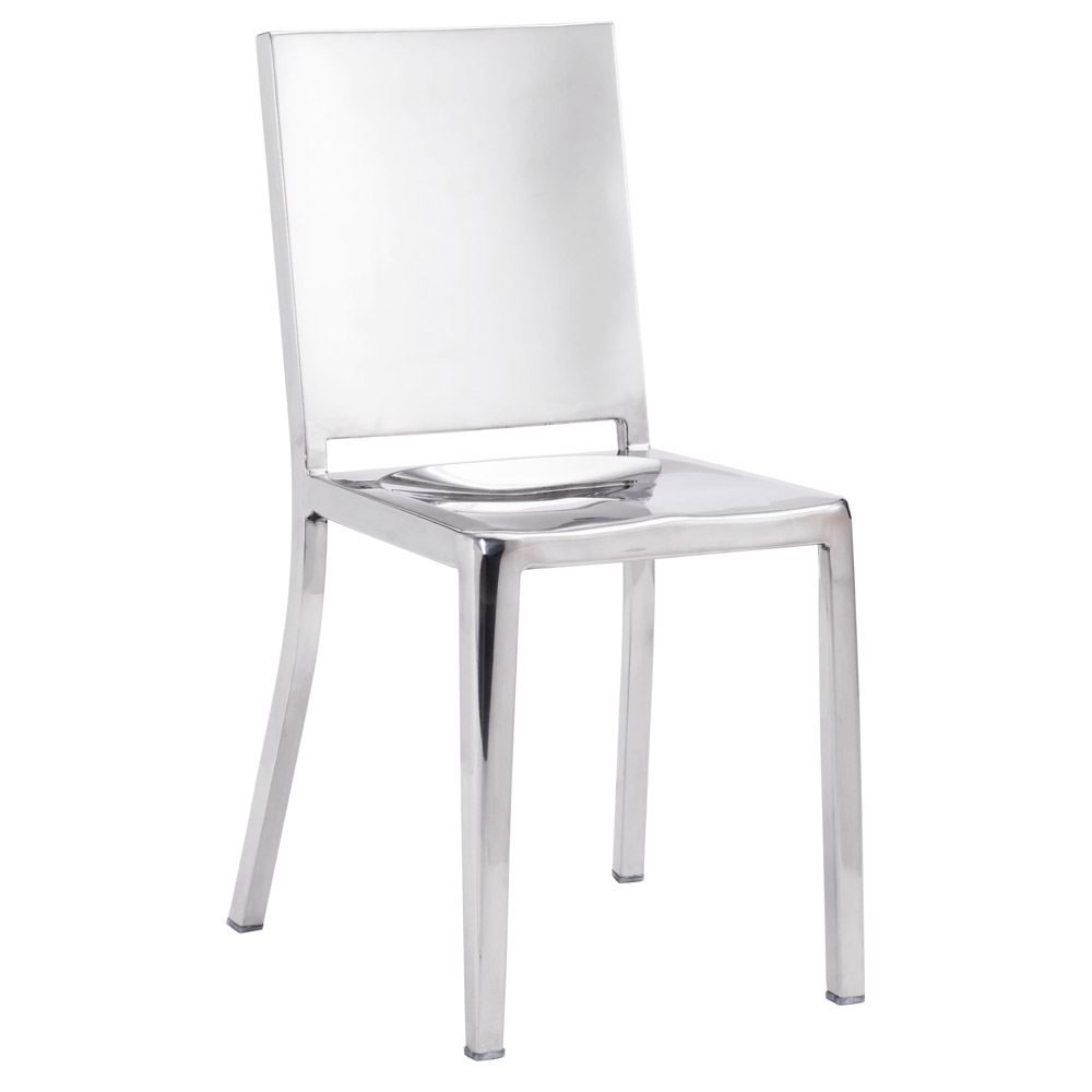 Modern Zaina Dining Chair 2 Piece Set Polished Stainless