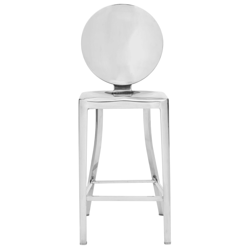 Modern Zia Counter Stool 2 Piece Set Polished Stainless