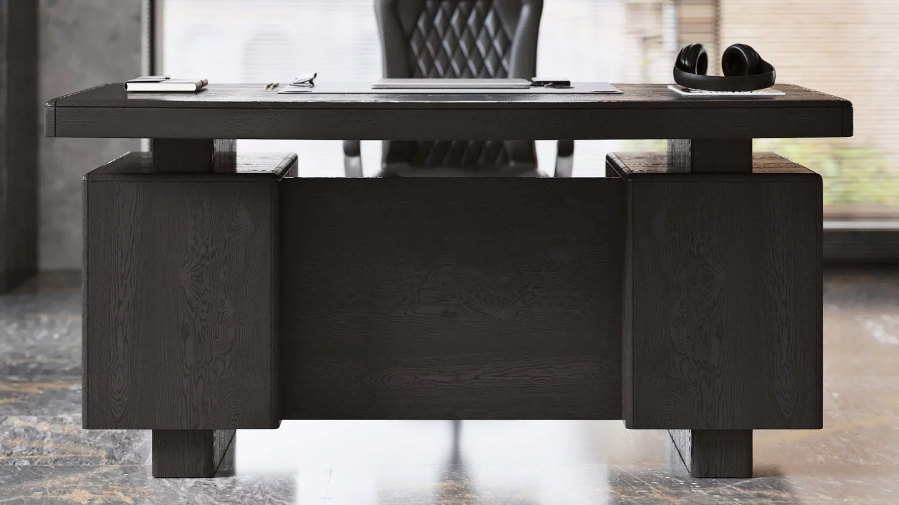 monroe desk black oak with sterling chair lifestyle