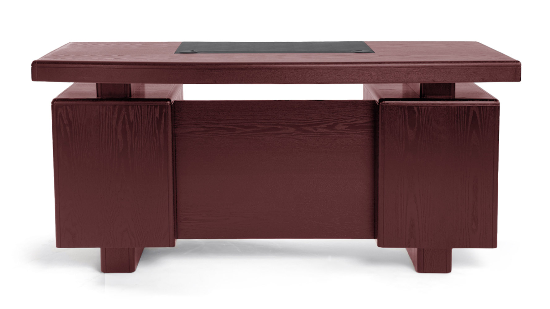 Modern Office Desk: Monroe Mahogany Wood Modern Desk With Leather Pad And