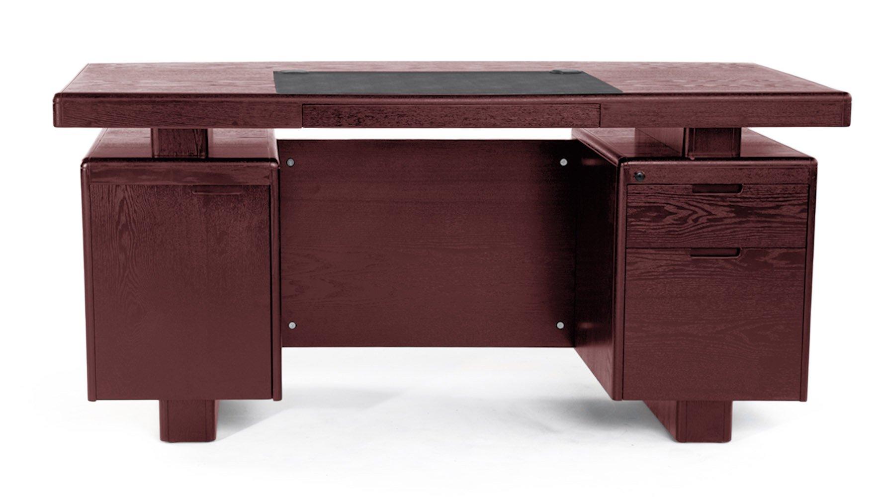 monroe mahogany wood modern desk with leather pad and storage zuri furniture. Black Bedroom Furniture Sets. Home Design Ideas