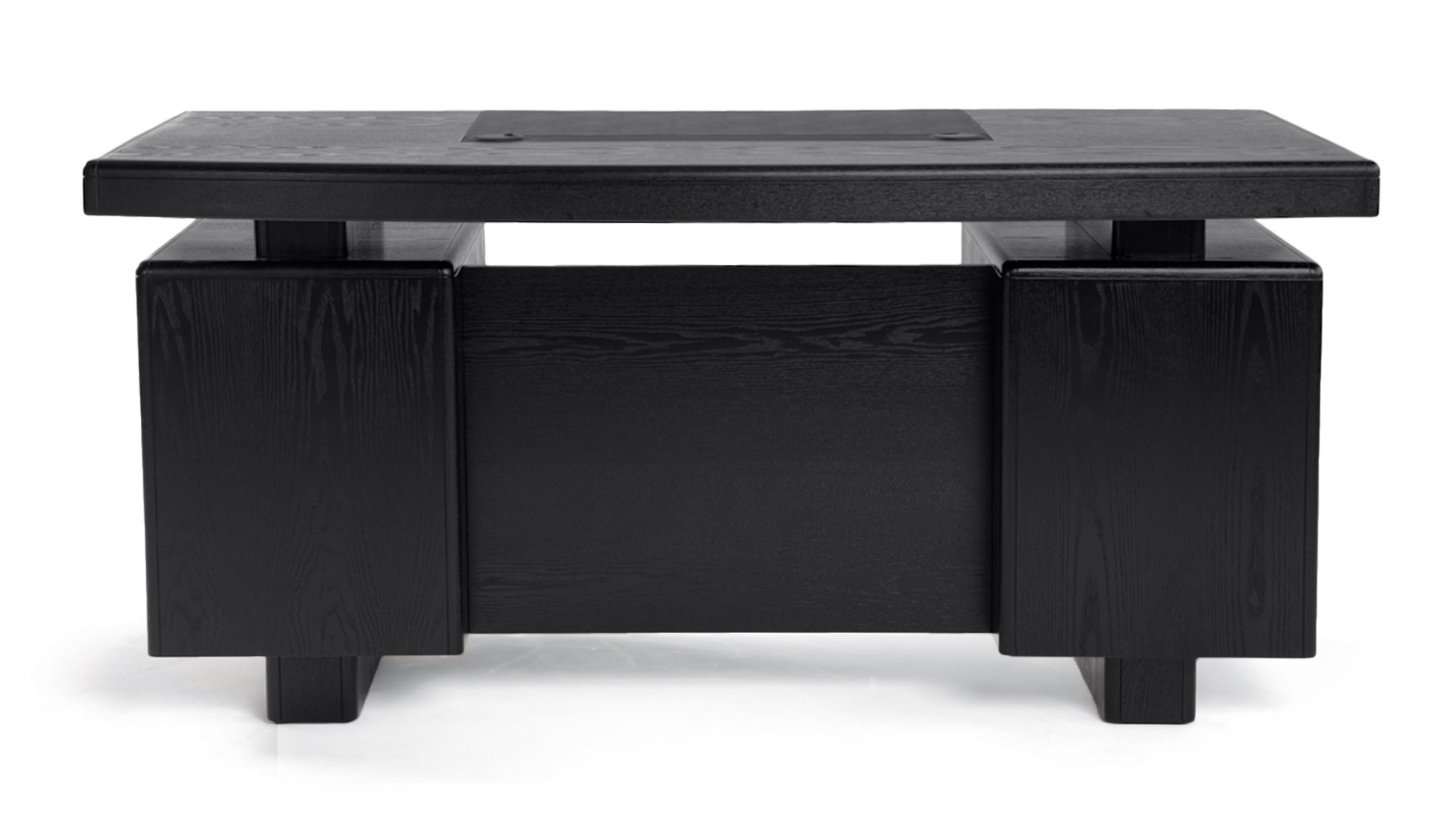 Monroe Black Wood Modern Desk With Leather Pad And Storage
